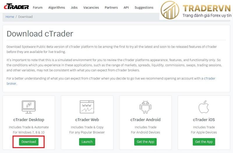 download ctrader cho may tinh